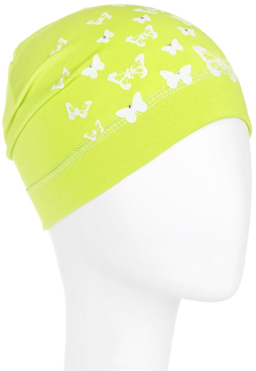 Шапка для девочки. DC3782-22DC3782-22Стильная шапка для девочки ПриКиндер идеально подойдет для прогулок и активных игр на свежем воздухе. Шапка выполнена из высококачественного эластичного хлопка, она невероятно мягкая и приятная на ощупь, великолепно тянется и удобно сидит. Такая шапочка отлично дополнит любой наряд. Модель украшена принтом с изображением бабочек и декорирована сверкающими стразами. Удобная шапка станет модным и стильным дополнением гардероба вашей маленькой принцессы, надежно защитит ее от холода и ветра и поднимет ей настроение даже в пасмурные дни! Уважаемые клиенты! Размер, доступный для заказа, является обхватом головы.