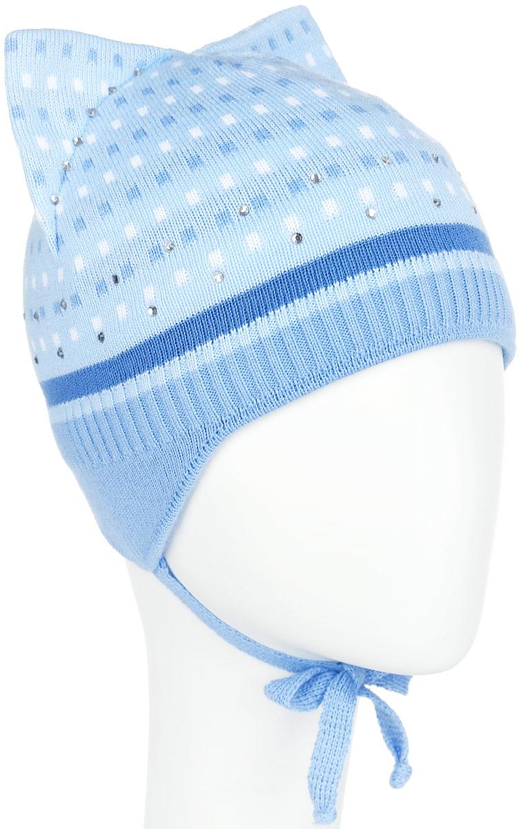 Шапка детскаяD3653-22Стильная шапка для девочки ПриКиндер идеально подойдет для прогулок и активных игр на свежем воздухе. Шапка выполнена из высококачественного акрила с добавлением хлопка, она невероятно мягкая и приятная на ощупь, великолепно тянется и удобно сидит. Подкладка изготовлена из эластичного хлопка. Такая шапочка отлично дополнит любой наряд. Шапка имеет ушки с завязками. Модель украшена сверкающими стразами и дополнена имитацией кошачьих ушек на макушке. Удобная шапка станет модным и стильным дополнением гардероба вашей маленькой принцессы, надежно защитит ее от холода и ветра и поднимет ей настроение даже в пасмурные дни! Уважаемые клиенты! Размер, доступный для заказа, является обхватом головы.