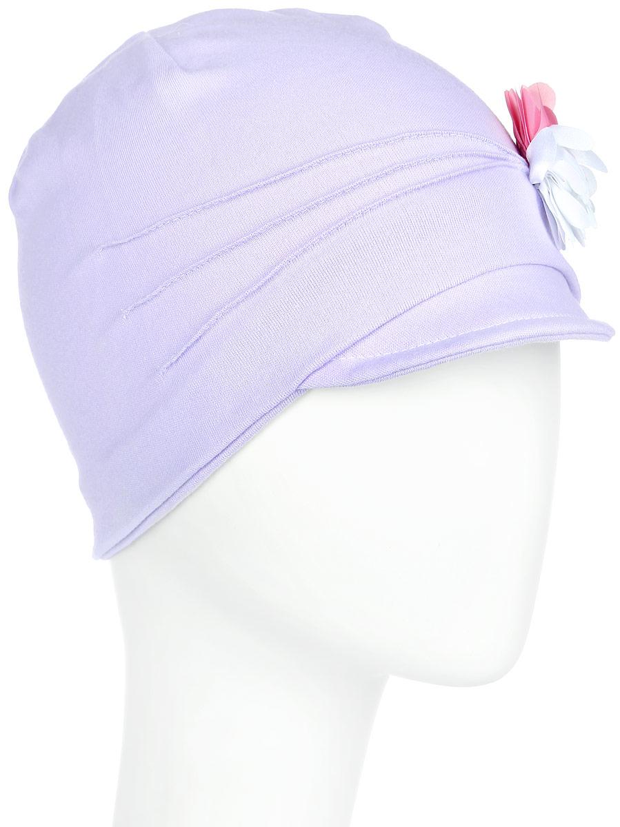 Шапка детскаяK3M-22Стильная легкая шапка для девочки ПриКиндер Gracek идеально подойдет для прогулок и активных игр на свежем воздухе. Шапка выполнена из высококачественного натурального хлопка, она невероятно мягкая и приятная на ощупь, великолепно тянется и удобно сидит. Такая шапочка отлично дополнит любой наряд. Модель дополнена небольшим мягким козырьком и украшена декоративным цветком и простроченными складками спереди. Удобная шапка станет модным и стильным дополнением гардероба вашей маленькой принцессы, надежно защитит ее от ветра и солнца и поднимет ей настроение даже в пасмурные дни! Уважаемые клиенты! Размер, доступный для заказа, является обхватом головы.