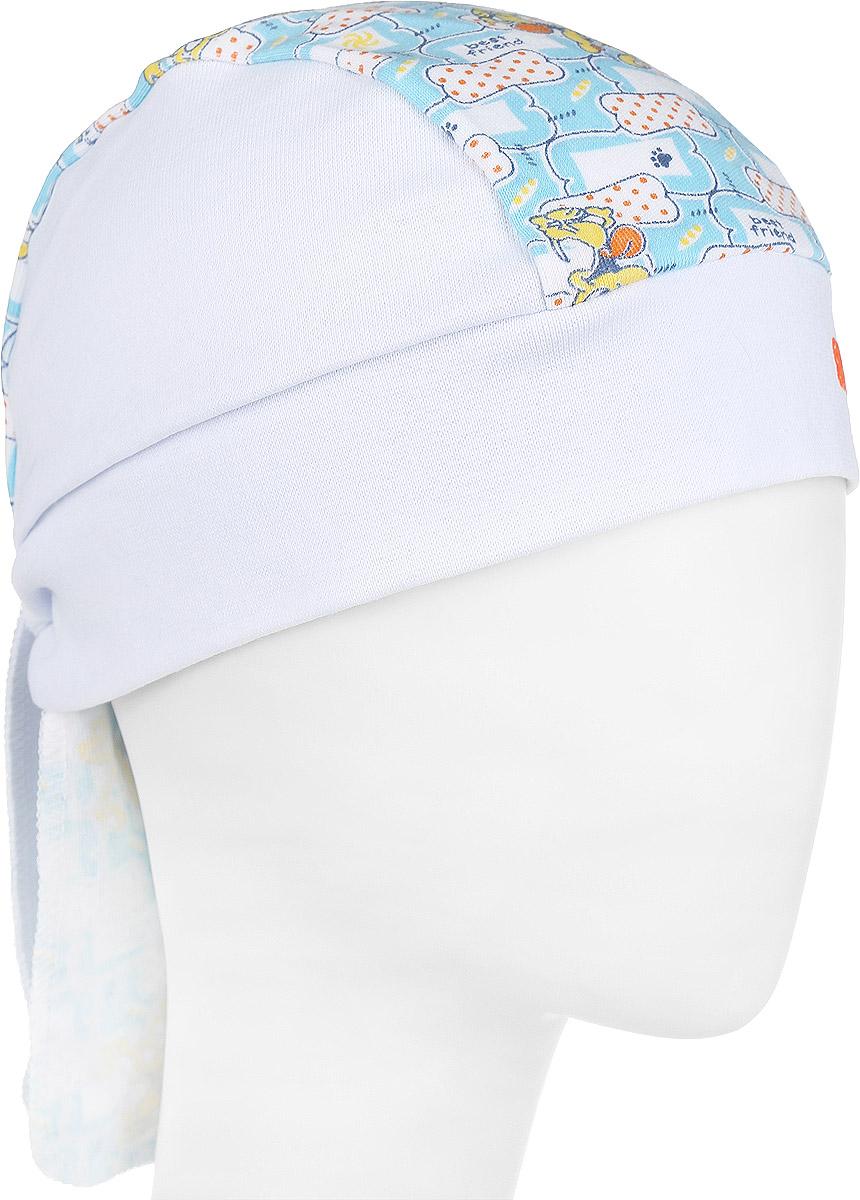 БанданаML817-22Бандана для мальчика ПриКиндер станет стильным дополнением к детскому гардеробу. Изготовленная из натурального хлопка, она мягкая и приятная на ощупь, хорошо пропускает воздух. Бандана фиксируется при помощи широких завязок. Модель оформлена контрастной вставкой с оригинальным принтом с изображением собачек по центру. Такая бандана послужит отличным аксессуаром для прогулок и игр на свежем воздухе и защитит голову вашего малыша от солнца и сильного ветра. В ней маленький модник всегда будет в центре внимания! Уважаемые клиенты! Размер, доступный для заказа, является обхватом головы.