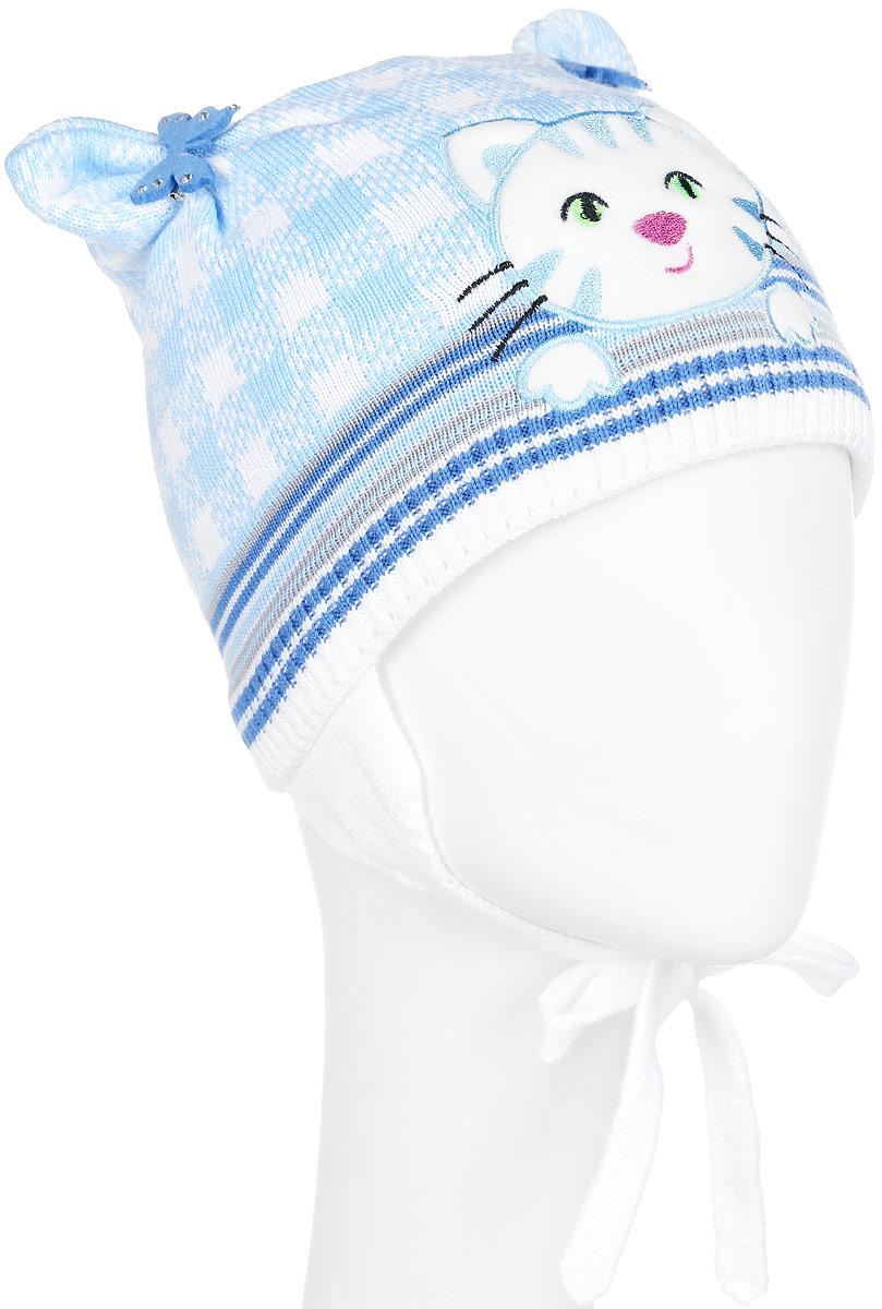Шапка для девочки. D3657-22D3657-22Стильная шапка для девочки ПриКиндер идеально подойдет для прогулок и активных игр на свежем воздухе. Шапка выполнена из высококачественной пряжи на основе акрила с добавлением хлопка, она невероятно мягкая и приятная на ощупь, великолепно тянется и удобно сидит. Подкладка выполнена их эластичного хлопка. Такая шапочка великолепно дополнит любой наряд. Шапка дополнена ушками с завязками под подбородок. Модель украшена аппликацией с вышивкой в виде кошки и дополнена оригинальными ушками со съемными брошками в виде бабочек со стразами. Удобная шапка станет модным и стильным дополнением гардероба вашей маленькой принцессы, надежно защитит ее от холода и ветра и поднимет ей настроение даже в пасмурные дни! Уважаемые клиенты! Размер, доступный для заказа, является обхватом головы.