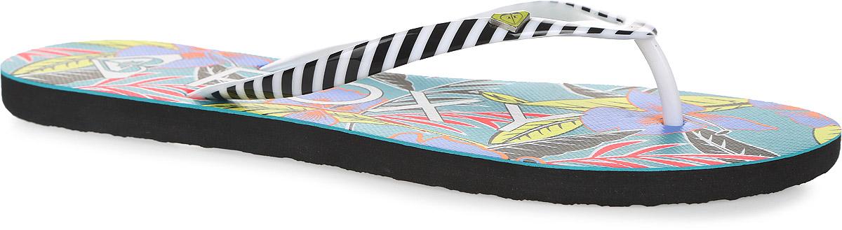 СланцыARJL100129-GBKСтильные женские сланцы Mimosa от Roxy придутся вам по душе. Верх модели, выполненный из поливинилхлорида, оформлен принтом в полоску и металлическим элементом в виде фирменного логотипа. Ремешки с перемычкой гарантируют надежную фиксацию модели на ноге. Подошва выполнена из материала ЭВА. Верхняя поверхность подошвы оформлена цветочным принтом, названием и логотипом бренда. Рельефное основание подошвы обеспечивает уверенное сцепление с любой поверхностью. Удобные сланцы прекрасно подойдут для похода в бассейн или на пляж.