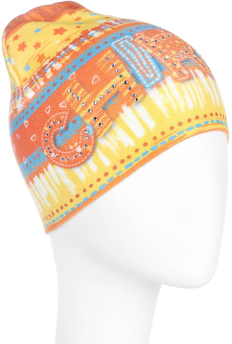 Шапка для девочки. D3740-22D3740-22Стильная шапка для девочки ПриКиндер идеально подойдет для прогулок и активных игр на свежем воздухе. Шапка выполнена из высококачественного эластичного акрила с добавлением хлопка, она невероятно мягкая и приятная на ощупь, великолепно тянется и удобно сидит. Такая шапочка отлично дополнит любой наряд. Модель украшена оригинальным красочным принтом и стилизованной надписью Chirpy спереди, а также декорирована сверкающими стразами. Удобная шапка станет модным и стильным дополнением гардероба вашей маленькой принцессы, надежно защитит ее от холода и ветра и поднимет ей настроение даже в пасмурные дни! Уважаемые клиенты! Размер, доступный для заказа, является обхватом головы.