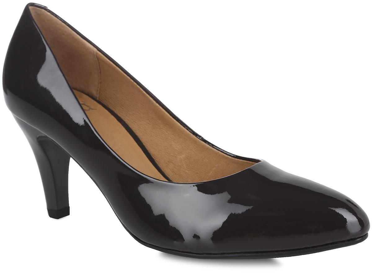 Туфли женские. 9-9-22409-27-2259-9-22409-27-225Стильные туфли от Caprice не оставят равнодушной настоящую модницу! Модель выполнена из натуральной лакированной кожи. Заостренный носок смотрится невероятно женственно. Внутренняя поверхность и стелька из натуральной кожи гарантируют комфорт при ходьбе. Каблук умеренной высоты невероятно устойчив. Каблук и подошва с рифлением обеспечивают идеальное сцепление с любыми поверхностями. Элегантные туфли внесут изысканные нотки в ваш образ и подчеркнут вашу утонченную натуру.