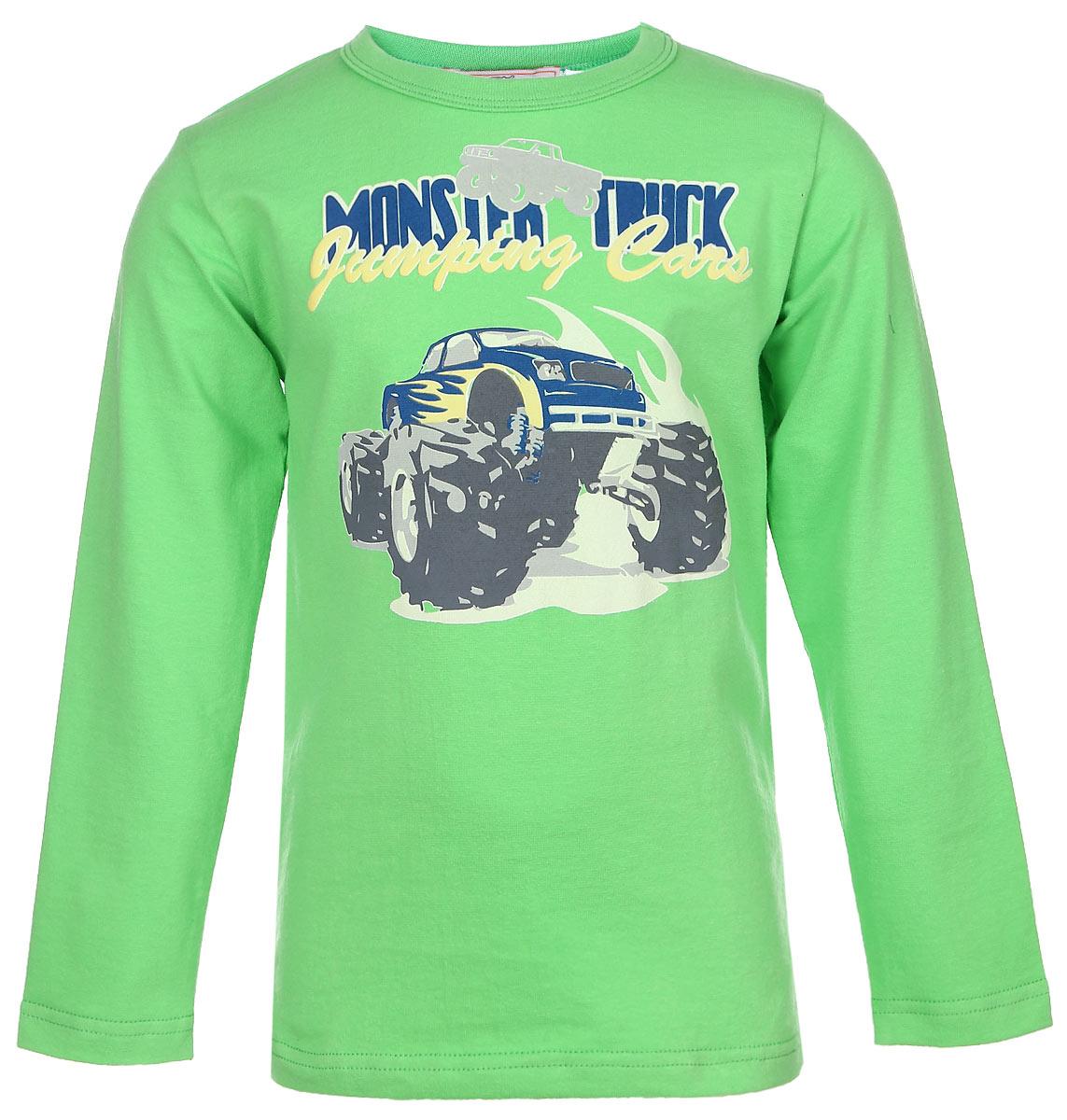 SSF161K31-14Модная футболка с длинным рукавом для мальчика M&D идеально подойдет вашему малышу. Изготовленная из эластичного хлопка, она необычайно мягкая и приятная на ощупь, не сковывает движения малыша и позволяет коже дышать, не раздражает даже самую нежную и чувствительную кожу ребенка, обеспечивая наибольший комфорт. Футболка с длинными рукавами оформлена оригинальным принтом с изображением монстр-трака и надписями на английском языке. Оригинальный современный дизайн и модная расцветка делают эту футболку модным и стильным предметом детского гардероба. В ней ваш малыш будет чувствовать себя уютно и комфортно и всегда будет в центре внимания!