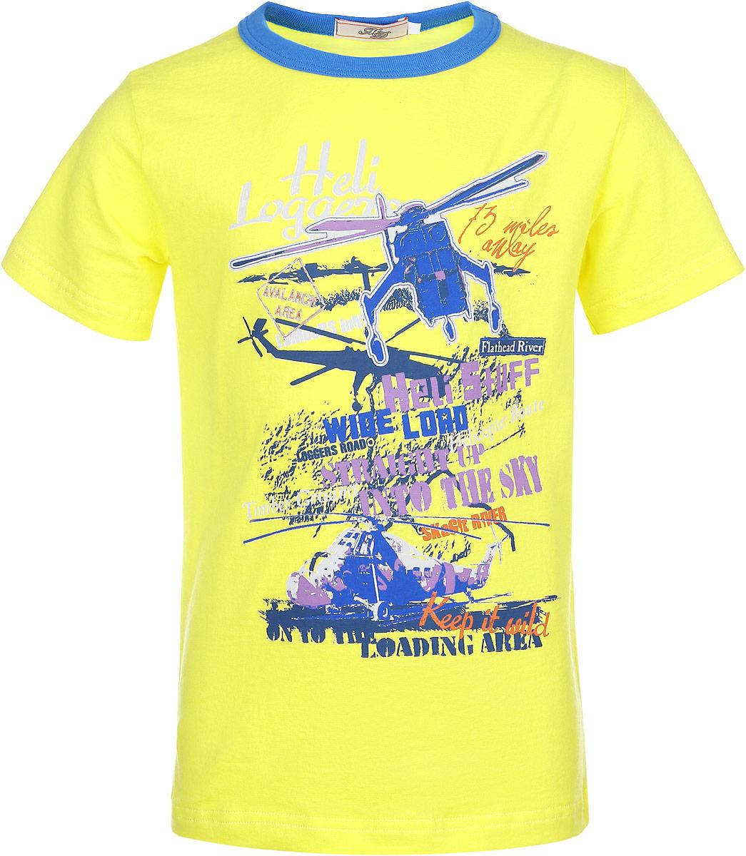 ФутболкаSSF162N30-2Модная футболка для мальчика M&D идеально подойдет вашему маленькому моднику. Изготовленная из эластичного хлопка, она необычайно мягкая и приятная на ощупь, не сковывает движения малыша и позволяет коже дышать, не раздражает даже самую нежную и чувствительную кожу ребенка, обеспечивая наибольший комфорт. Футболка с короткими рукавами оформлена оригинальным принтом с изображением вертолетов и надписей на английском языке. Оригинальный современный дизайн и модная расцветка делают эту футболку модным и стильным предметом детского гардероба. В ней ваш малыш будет чувствовать себя уютно и комфортно и всегда будет в центре внимания!