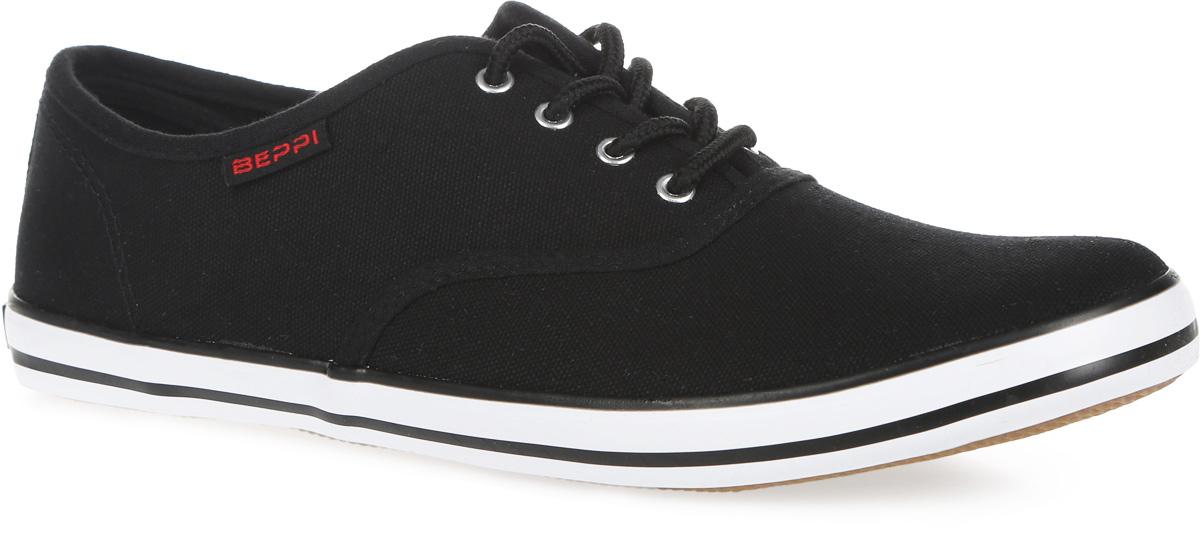 Кеды женские. 2124092124090Стильные женские кеды от Beppi покорят вас с первого взгляда! Модель выполнена из плотного текстиля и оформлена сбоку нашивкой с названием бренда, на подошве - контрастными полосками и названием бренда. Классическая шнуровка обеспечивает надежную фиксацию обуви на ноге. Подкладка из текстиля и стелька из материала ЭВА с текстильной поверхностью гарантируют комфорт при движении. Прочная резиновая подошва с рельефным рисунком обеспечивает сцепление с любой поверхностью. Такие кеды займут достойное место в вашем гардеробе.