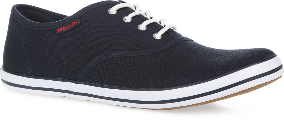 Кеды мужские. 2123922123920Стильные мужские кеды от Beppi покорят вас с первого взгляда! Модель выполнена из плотного текстиля и оформлена на подошве контрастными полосками, сбоку - фирменной нашивкой. Классическая шнуровка обеспечивает надежную фиксацию обуви на ноге. Подкладка из текстиля и стелька из материала ЭВА с текстильной поверхностью гарантируют комфорт при движении. Прочная резиновая подошва с рельефным рисунком обеспечивает сцепление с любой поверхностью. Такие кеды займут достойное место в вашем гардеробе.
