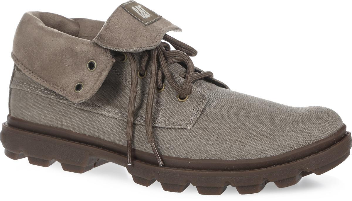 Ботинки мужские Gavin Rolldown Canvas. P719916P719916Стильные мужские ботинки Gavin Rolldown Canvas от Caterpillar заинтересуют вас своим дизайном с первого взгляда. Модель, выполненная из канваса, оформлена сбоку и на язычке фирменными нашивками. Шнуровка надежно фиксирует модель на вашей ноге. Подкладка из микрофибры поддерживает превосходную терморегуляцию для комфортного пребывания на свежем воздухе. Подошва с грубым протектором гарантирует отличное сцепление с любой поверхностью. Удобные ботинки предназначены для тех, кто много времени проводит на ногах, гуляя и путешествуя.