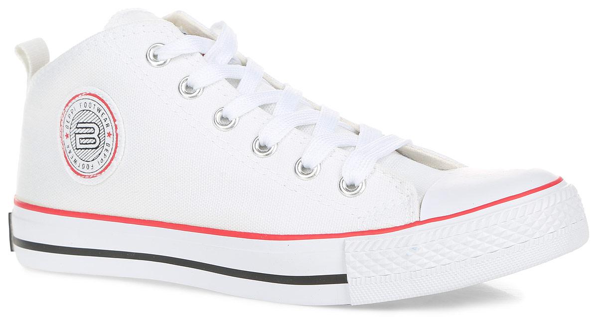 Кеды женские. 2124372124372Стильные женские кеды от Beppi покорят вас с первого взгляда! Модель выполнена из плотного текстиля и оформлена на подошве контрастными полосками, сбоку и на язычке - фирменными нашивками. Мыс изделия защищен прорезиненной вставкой. Классическая шнуровка обеспечивает надежную фиксацию обуви на ноге. Подкладка из текстиля и стелька из материала ЭВА с текстильной поверхностью гарантируют комфорт при движении. Прочная резиновая подошва с рельефным рисунком обеспечивает сцепление с любой поверхностью. Такие кеды займут достойное место в вашем гардеробе.