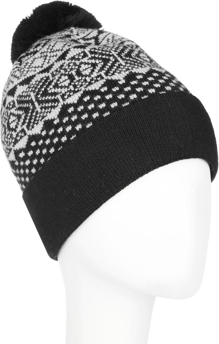 ШапкаA16-22132_101Стильная мужская шапка Finn Flare отлично дополнит ваш образ в холодную погоду. Сочетание шерсти и акрила максимально сохраняет тепло и обеспечивает удобную посадку. Шапка оформлена оригинальным орнаментом и на макушке украшена помпоном. Модель дополнена мягкой флисовой подкладкой. Шапка украшена металлической эмблемой с логотипом производителя. Такая модель комфортна и приятна на ощупь, она великолепно подчеркнет ваш вкус.