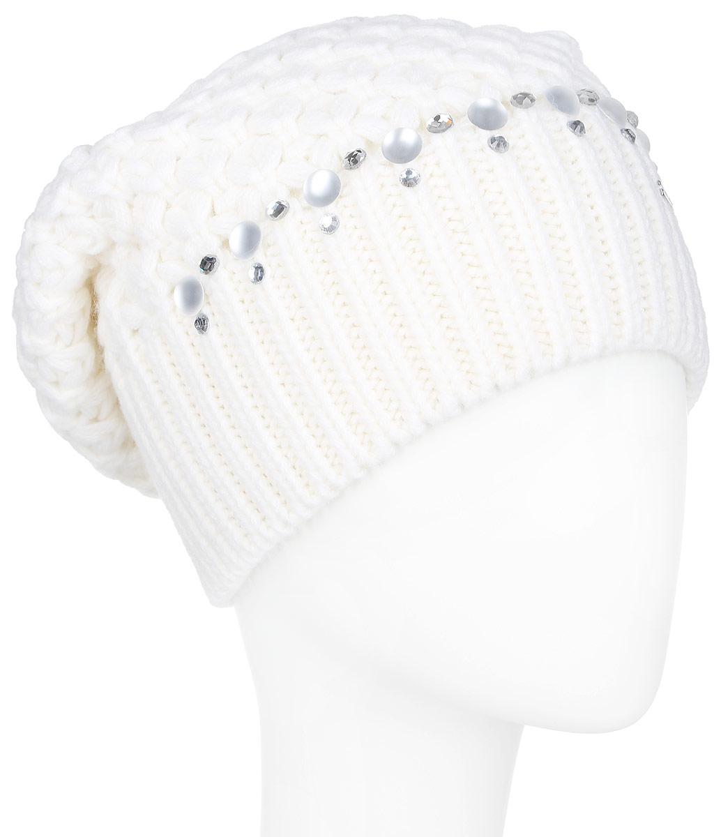 ШапкаA16-11150_201Стильная женская шапка Finn Flare дополнит ваш наряд и не позволит вам замерзнуть в холодное время года. Шапка выполнена из высококачественной пряжи, что позволяет ей великолепно сохранять тепло и обеспечивает высокую эластичность и удобство посадки. Модель оформлена кристаллами, пластиковыми полубусинами и металлической нашивкой с названием бренда. Такая шапка станет модным и стильным дополнением вашего гардероба. Она согреет вас и позволит подчеркнуть свою индивидуальность!