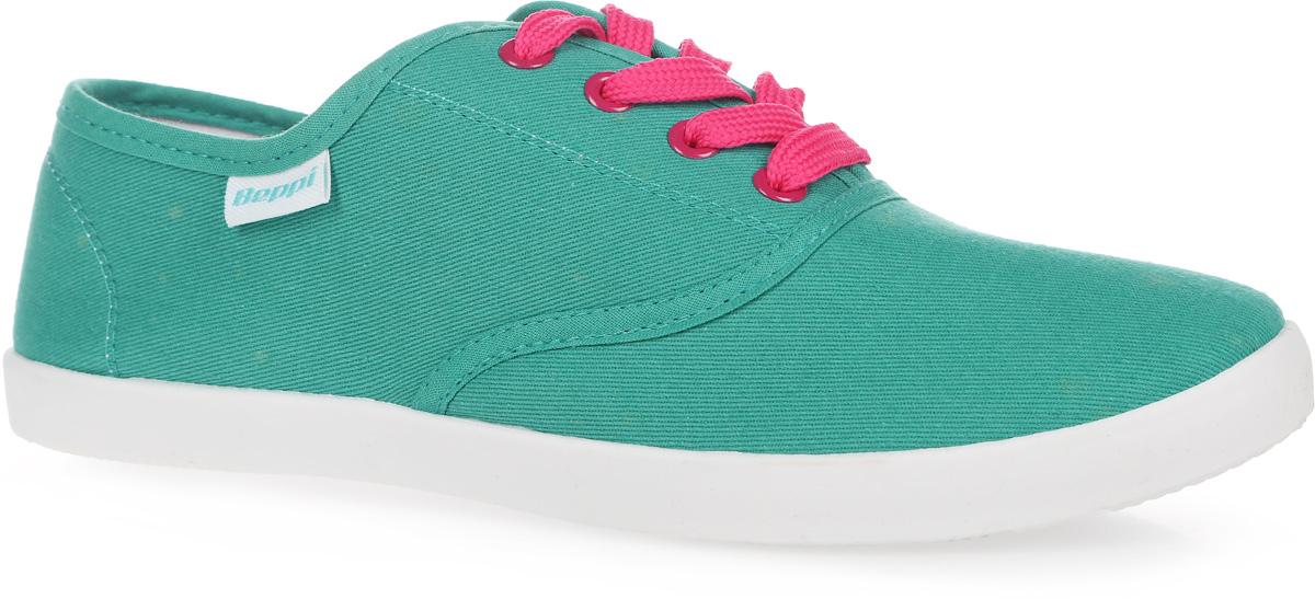 Кеды женские. 2132922132920Стильные женские кеды от Beppi покорят вас с первого взгляда! Модель выполнена из текстиля и сбоку дополнена нашивкой с названием бренда. Классическая шнуровка обеспечивает надежную фиксацию обуви на ноге. Подкладка из текстиля и стелька из материала ЭВА с текстильной поверхностью гарантируют комфорт при движении. Прочная резиновая подошва с рельефным рисунком обеспечивает сцепление с любой поверхностью. Такие кеды займут достойное место в вашем гардеробе.
