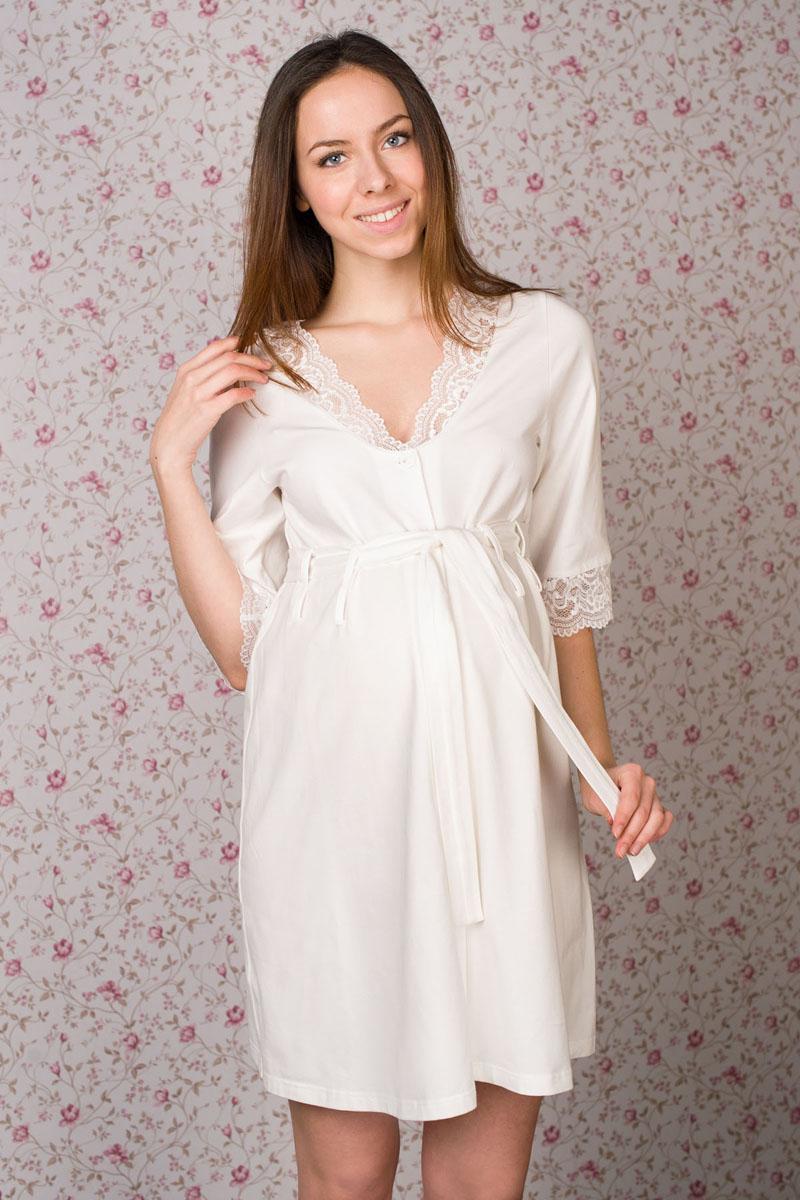 1-НМК 02202Чудесный халат выполнен из хлопка с эластаном с кружевом. Хлястики для пояса выполнены в два ряда, делая эту модель универсальной. Можно носить с большим животиком и после родов.