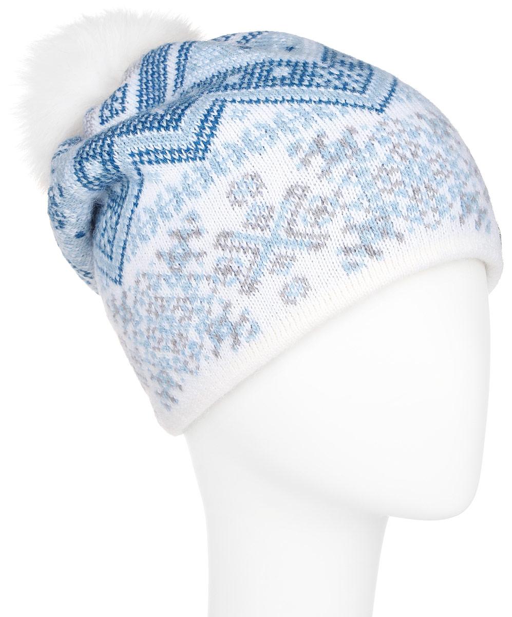 ШапкаA16-12136_101Стильная женская шапка Finn Flare дополнит ваш наряд и не позволит вам замерзнуть в холодное время года. Шапка выполнена из высококачественной пряжи, что позволяет ей великолепно сохранять тепло и обеспечивает высокую эластичность и удобство посадки. Модель оформлена оригинальным орнаментом и дополнена пушистым помпоном из меха песца. Такая шапка станет модным и стильным дополнением вашего гардероба. Она согреет вас и позволит подчеркнуть свою индивидуальность!