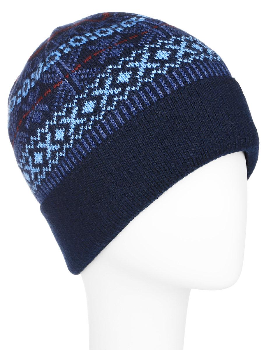 Шапка мужская. A16-22134A16-22134_200Стильная мужская шапка Finn Flare отлично дополнит ваш образ в холодную погоду. Сочетание шерсти и акрила максимально сохраняет тепло и обеспечивает удобную посадку. Изделие на теплой подкладке из флиса. Шапка понизу дополнена широким отворотом, оформлена оригинальным орнаментом и металлической эмблемой с логотипом производителя. Такая модель комфортна и приятна на ощупь, она великолепно подчеркнет ваш вкус.