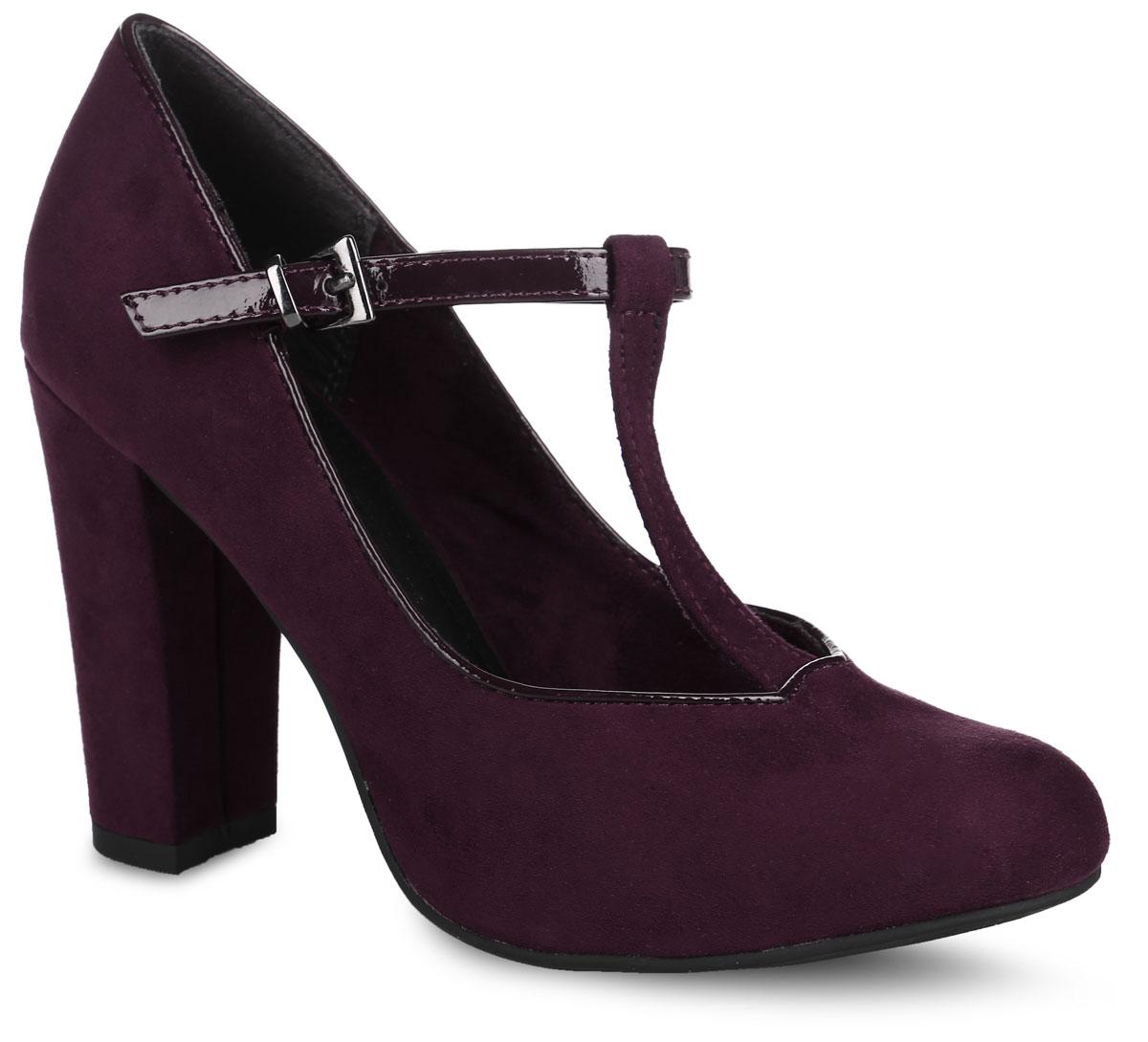 Туфли женские. 2-2-24404-27-5502-2-24404-27-550Стильные туфли от Marco Tozzi не оставят равнодушной настоящую модницу! Модель выполнена из текстиля. Закругленный носок придает элегантность. Внутренняя поверхность из текстиля не натирает. Т-образный ремешок с металлической пряжкой надежно зафиксирует модель на ноге. Мягкая стелька из искусственной кожи принимает форму стопы и обеспечивает этим максимальный комфорт. Высокий каблук невероятно устойчив. Каблук и подошва с рифлением обеспечивают идеальное сцепление с любыми поверхностями. Элегантные туфли внесут изысканные нотки в ваш образ и подчеркнут вашу утонченную натуру.