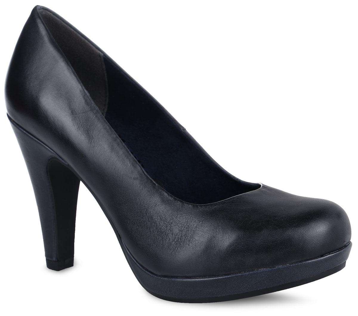 Туфли женские. 2-2-22427-27-8922-2-22427-27-892Стильные туфли от Marco Tozzi не оставят равнодушной настоящую модницу! Модель выполнена из натуральной кожи. Подкладка из текстиля и искусственных материалов не натирает. Мягкая стелька из искусственной кожи принимает форму стопы и обеспечивает этим максимальный комфорт. Высокий каблук компенсирован небольшой платформой. Каблук и подошва с рифлением обеспечивают идеальное сцепление с любыми поверхностями. Элегантные туфли внесут изысканные нотки в ваш образ и подчеркнут вашу утонченную натуру.