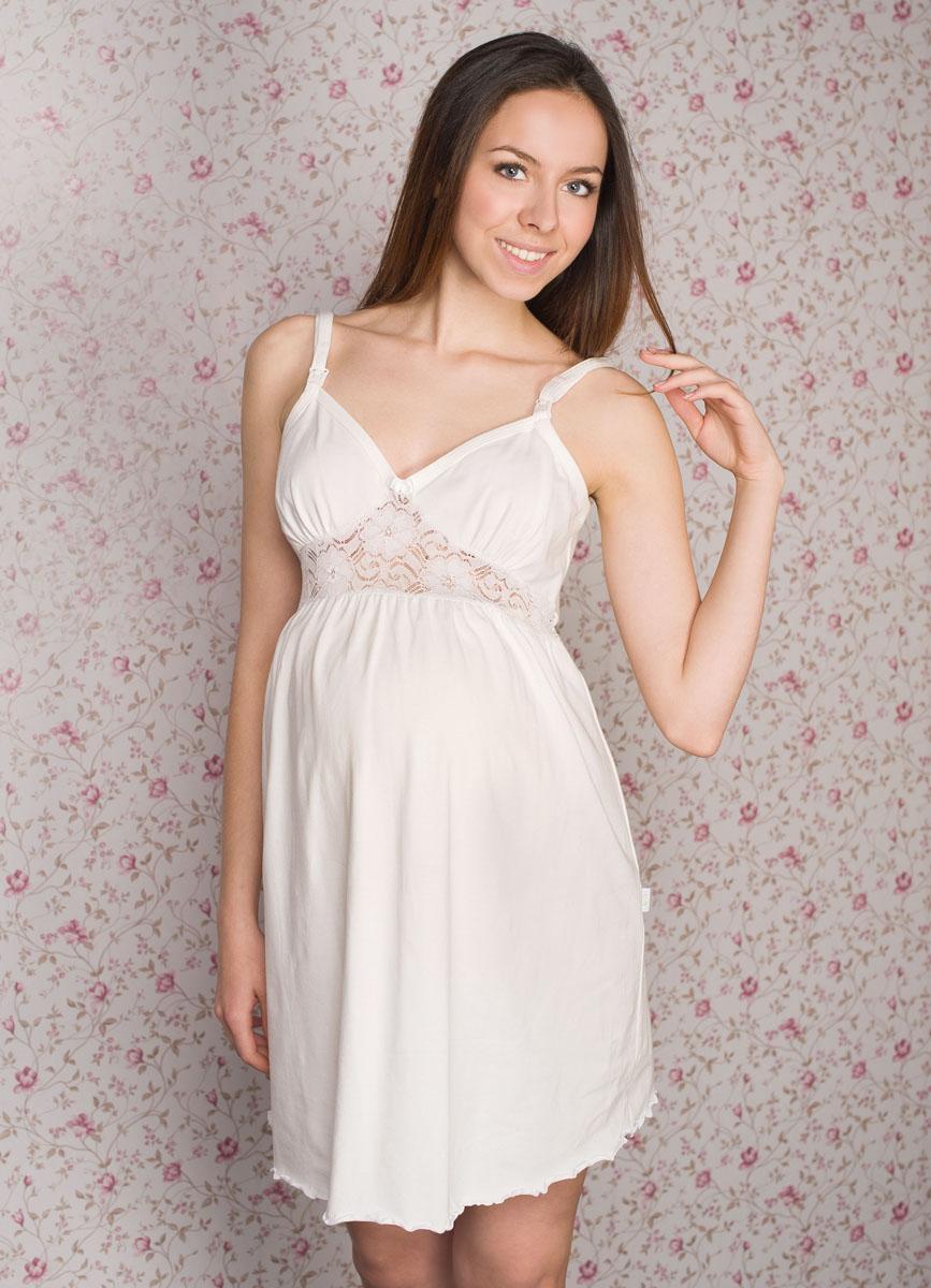 1-НМП 13502Легкая очаровательная ночная сорочка на бретелях будет удобна беременным и кормящим мамочкам благодаря застежкам-клипсам. Украшает сорочку кружевная вставка под грудью.