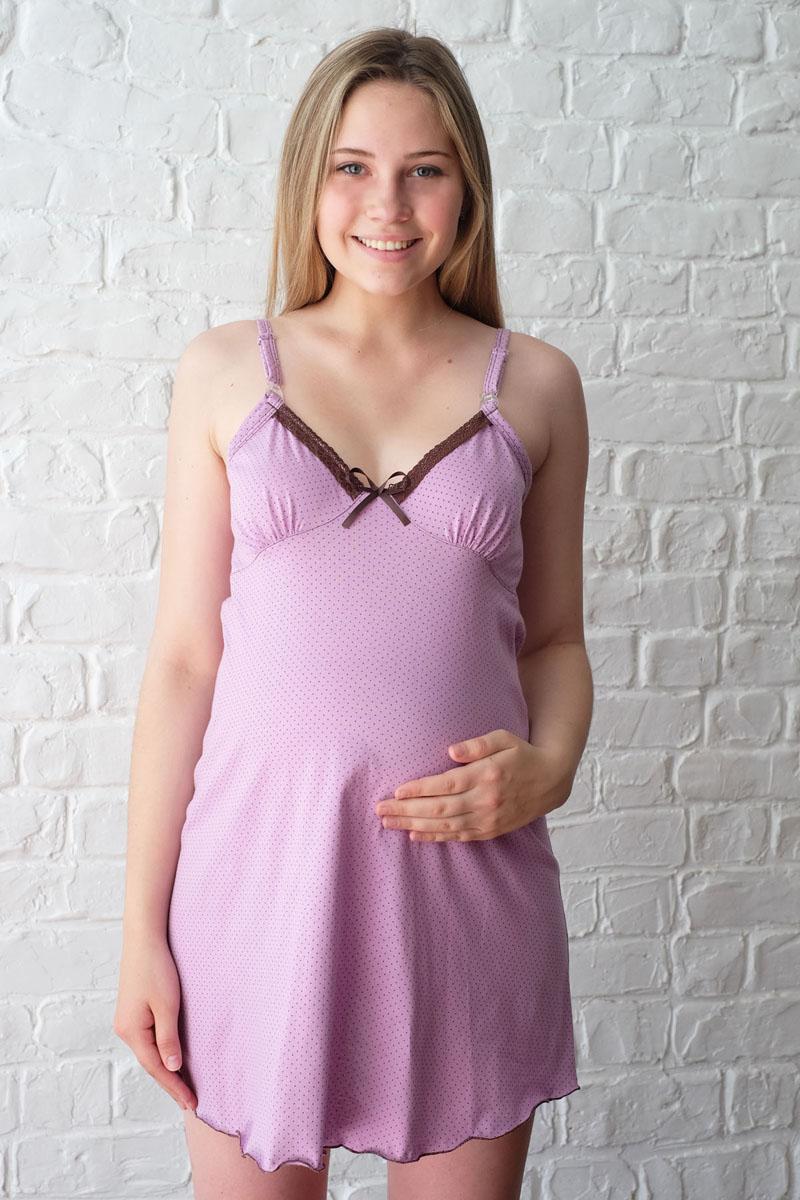 Ночная рубашка1-НМП 12501Удобная трикотажная ночная сорочка для беременных и кормящих Hunny Mammy изготовлена из высококачественного хлопкового. Сорочка с лифом и отделкой кружевом, застежка-клипса