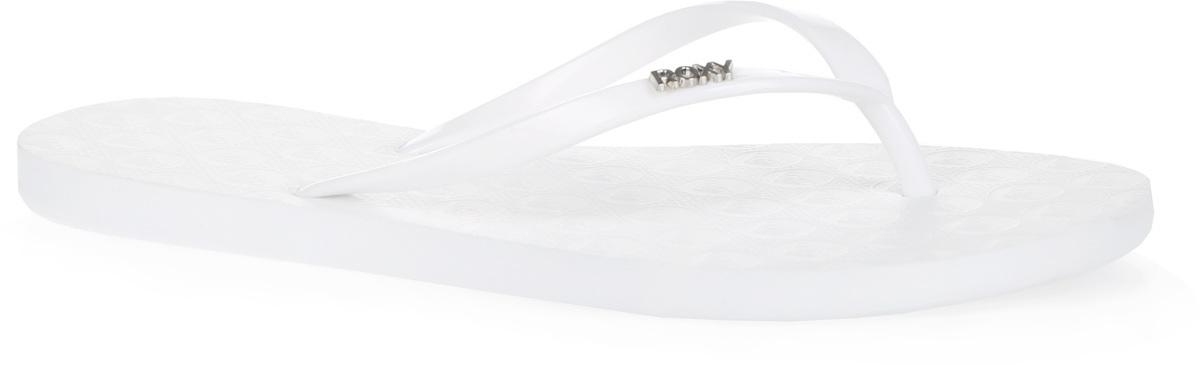 Сланцы женские Viva II. ARJL100456ARJL100456-WHTСтильные женские сланцы Viva II от Roxy придутся вам по душе. Верх модели выполнен из поливинилхлорида и оформлен металлическим элементом в виде названия бренда. Ремешки с перемычкой гарантируют надежную фиксацию модели на ноге. Рифление на верхней поверхности подошвы предотвращает выскальзывание ноги. Рельефное основание подошвы обеспечивает уверенное сцепление с любой поверхностью. Удобные сланцы прекрасно подойдут для похода в бассейн или на пляж.
