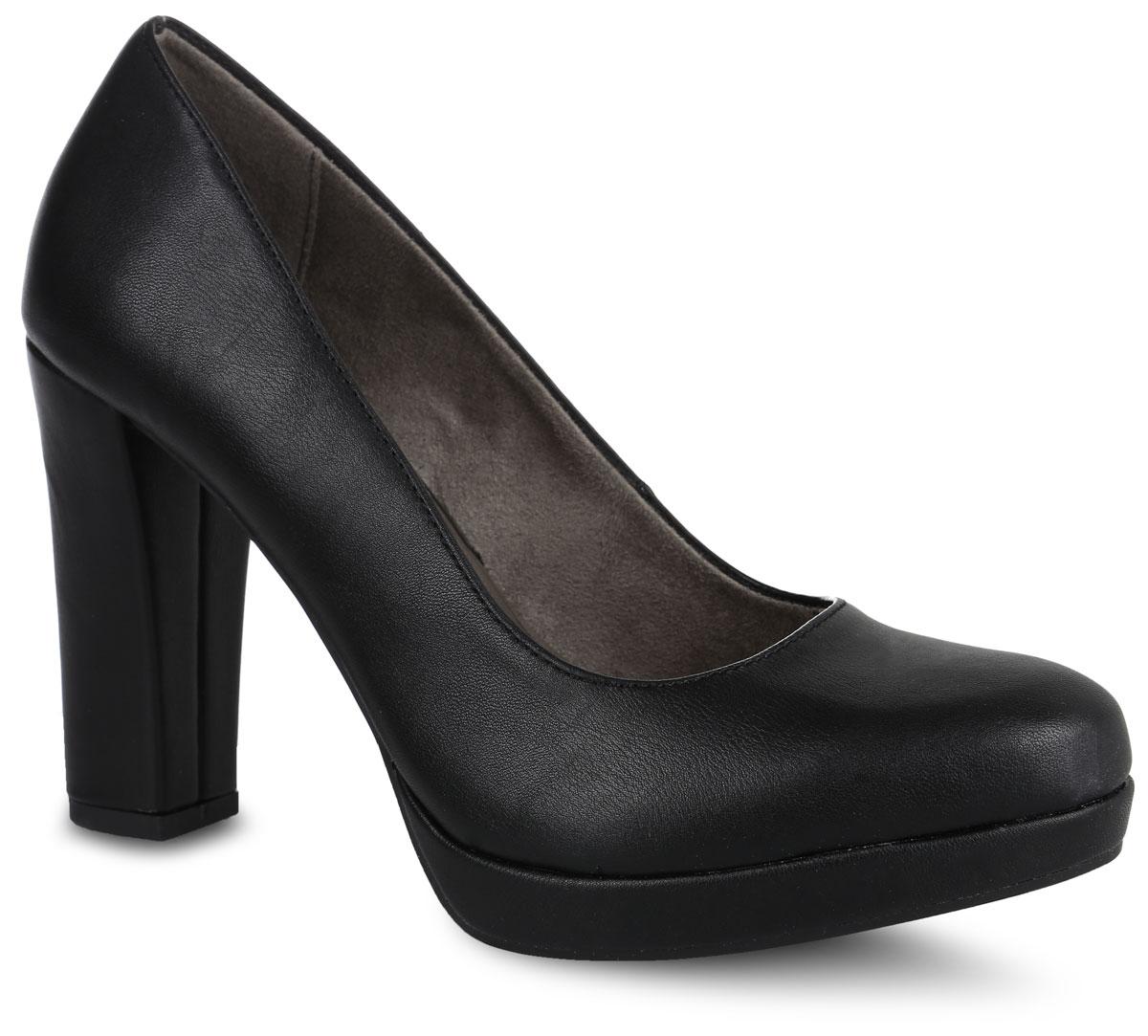 Туфли женские. 1-1-22435-27-0201-1-22435-27-020Стильные туфли от Tamaris не оставят равнодушной настоящую модницу! Модель выполнена из искусственной кожи. Закругленный носок добавляет женственности. Подкладка из текстиля и искусственного материала не натирает. Мягкая стелька из искусственной кожи принимает форму стопы и обеспечивает этим максимальный комфорт. Ультравысокий каблук компенсирован небольшой платформой. Каблук и подошва с рифлением обеспечивают идеальное сцепление с любыми поверхностями. Элегантные туфли внесут изысканные нотки в ваш образ и подчеркнут вашу утонченную натуру.