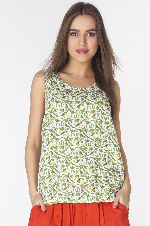 БлузкаL3216Стильная блузка без рукавов и с круглым вырезом горловины выполнена из 100% района. Модель полуприлегающего силуэта с небольшими разрезами по бокам.