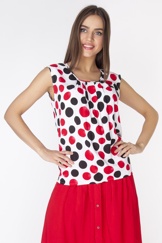 БлузкаL3254Легкая блузка из вискозной ткани без рукавов, с круглым вырезом горловины и выходящими из него складками.