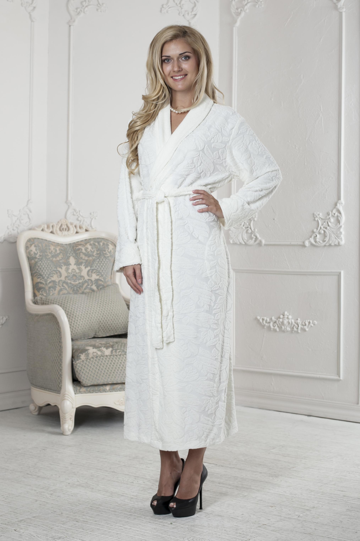 Халат411Очень мягкий и приятный женский халат из трикотажного бамбука. Очень элегантная и женственная модель. Объемная текстура по всему халату.
