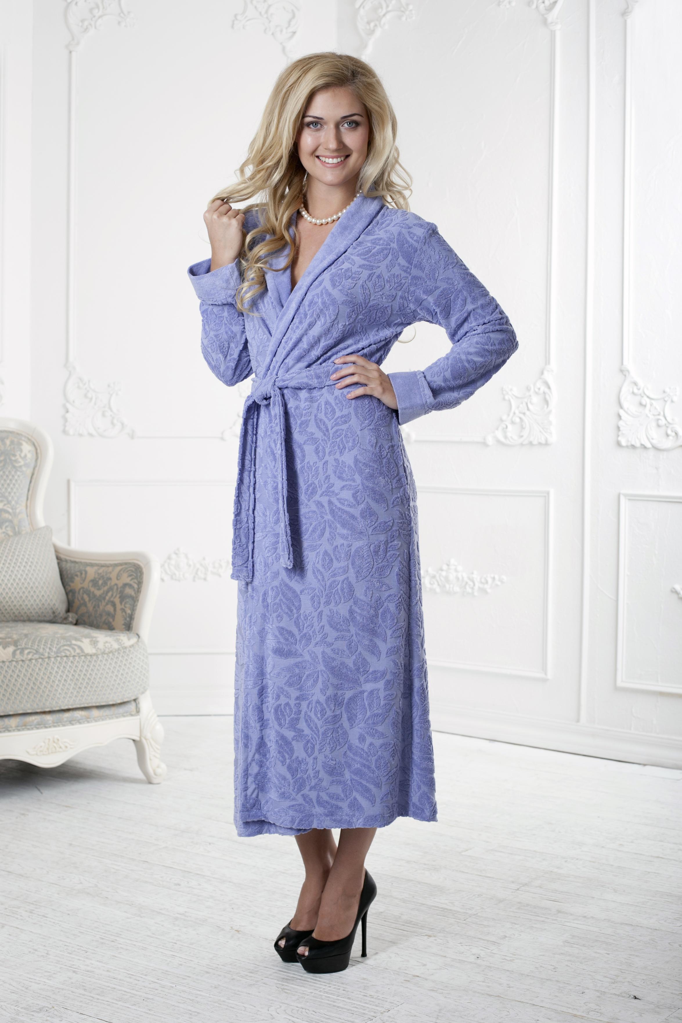 Халат женский. 411411Очень мягкий и приятный женский халат из ТРИКОТАЖНОГО БАМБУКА!! Очень элегантная и женственная коллекция. Объемная текстура по всему халату. Длинный, шалька.