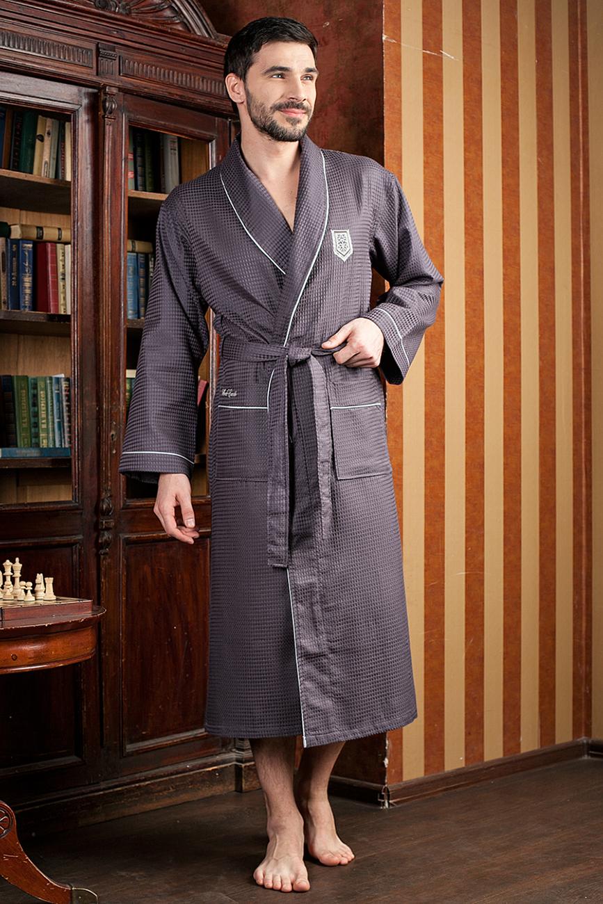 Халат431Шикарный вафельный бамбуковый халат с элегантной вышивкой на груди на кармане.