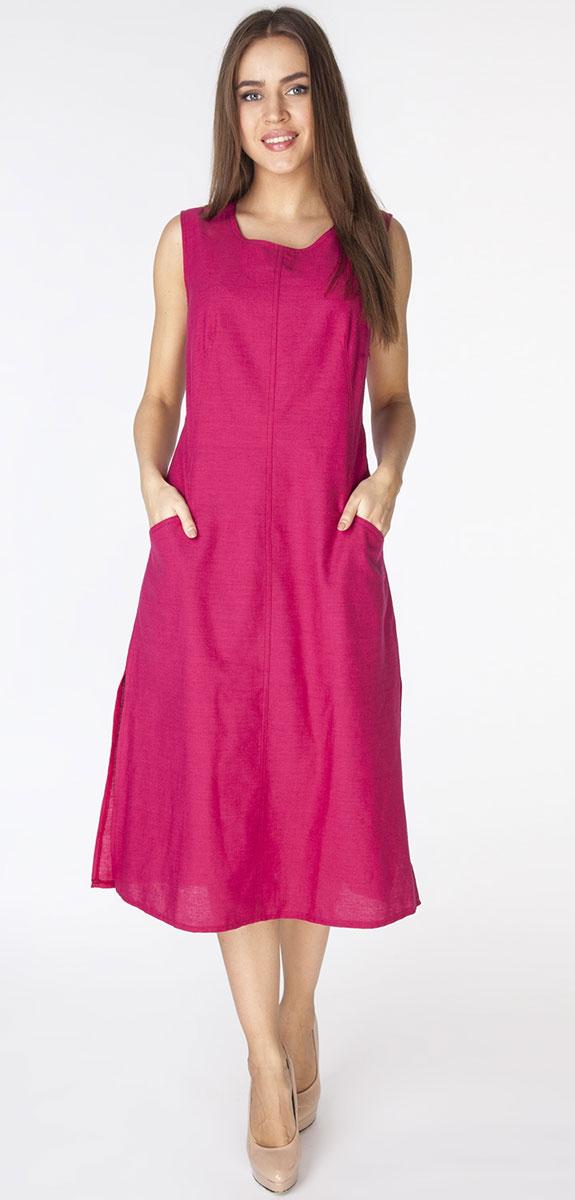 D3201Длинное платье полуприлегающего силуэта из ткани со льном. Модель с круглым вырезом горловины, без рукавов и фигурными рельефами и прорезными карманами на полочке.