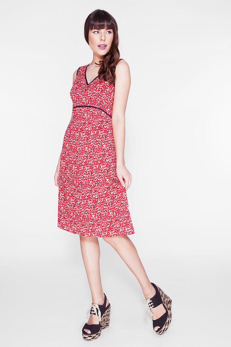 ПлатьеD-1-15-30Элегантное платье Vis-A-Vis выполнено из 100% вискозы. Такое платье обеспечит вам комфорт и удобство при носке и непременно вызовет восхищение у окружающих. Модель-миди на широких бретельках с V-образным вырезом горловины выгодно подчеркнет все достоинства вашей фигуры. Изделие застегивается на скрытую застежку-молнию сбоку. Модель оригинальным принтом в виде абстрактных пятен. Изысканное платье-миди создаст обворожительный и неповторимый образ. Это модное и комфортное платье станет превосходным дополнением к вашему гардеробу, оно подарит вам удобство и поможет подчеркнуть свой вкус и неповторимый стиль.