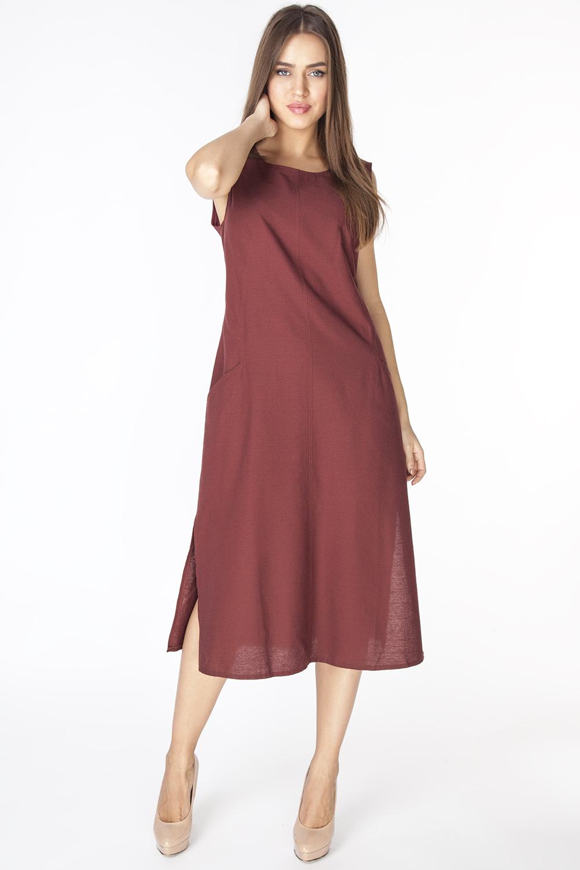ПлатьеD3201Длинное платье полуприлегающего силуэта из ткани со льном. Модель с круглым вырезом горловины, без рукавов и фигурными рельефами и прорезными карманами на полочке.