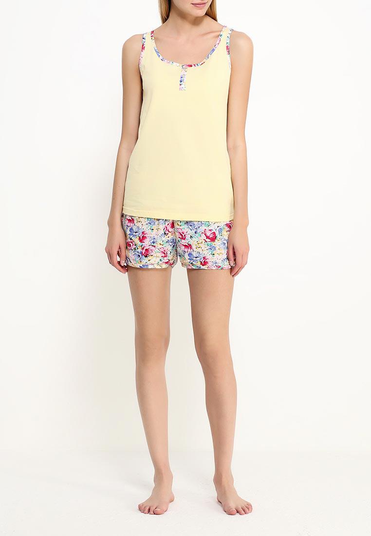 ПижамаLP2061SЛегкий домашний комплект, состоящий из майки с круглым вырезом горловины и шортами, принтованными в мелкий цветок.