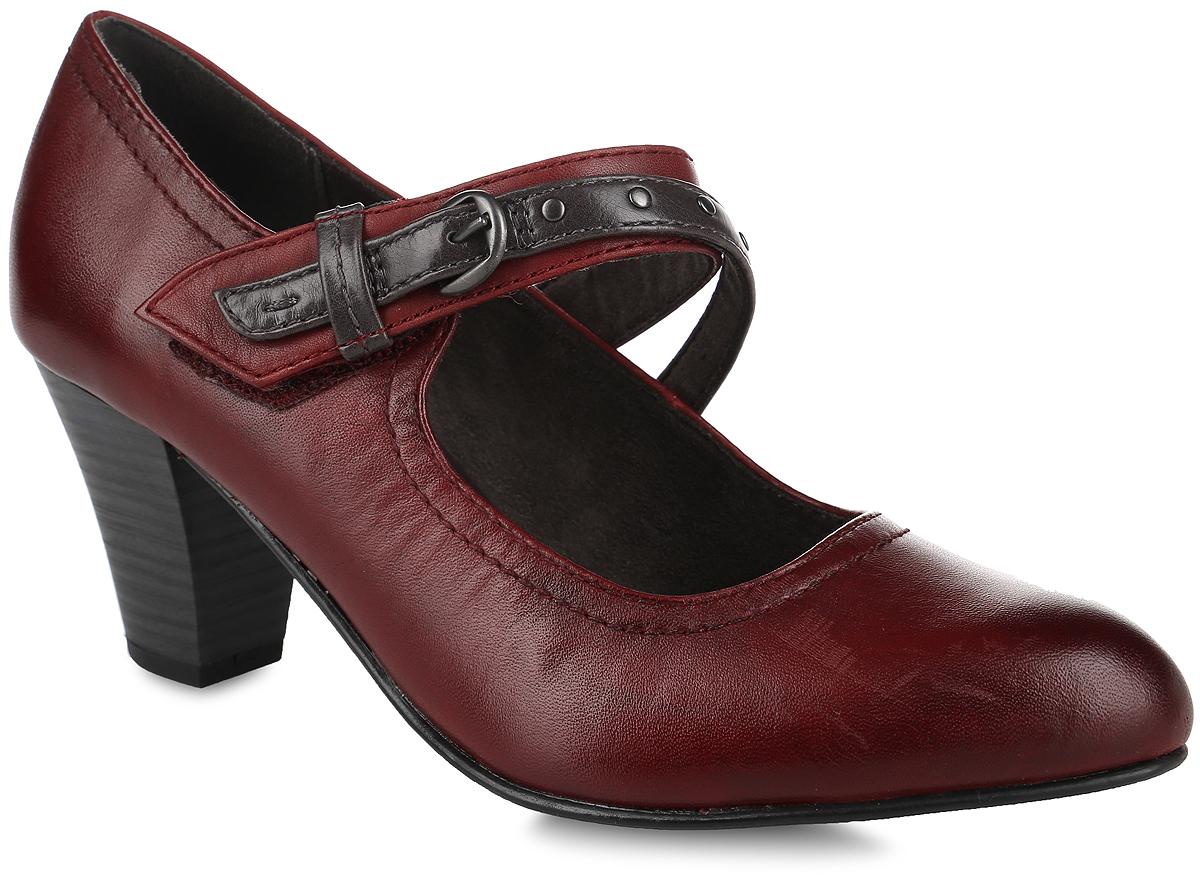 Туфли женские. 8-8-24302-27-5498-8-24302-27-549Стильные туфли от Jana не оставят равнодушной настоящую модницу! Модель выполнена из натуральной и искусственной кожи. Заостренный носок добавляет женственности. Подкладка из текстиля и искусственного материала не натирает. Стелька из искусственной кожи обеспечивает максимальный комфорт. Двойной ремешок с резинками на застежке-липучке, оформленный металлическими заклепками и пряжкой, надежно зафиксирует модель на ноге. Высокий каблук невероятно устойчив. Каблук и подошва с рифлением обеспечивают идеальное сцепление с любыми поверхностями. Элегантные туфли внесут изысканные нотки в ваш образ и подчеркнут вашу утонченную натуру.