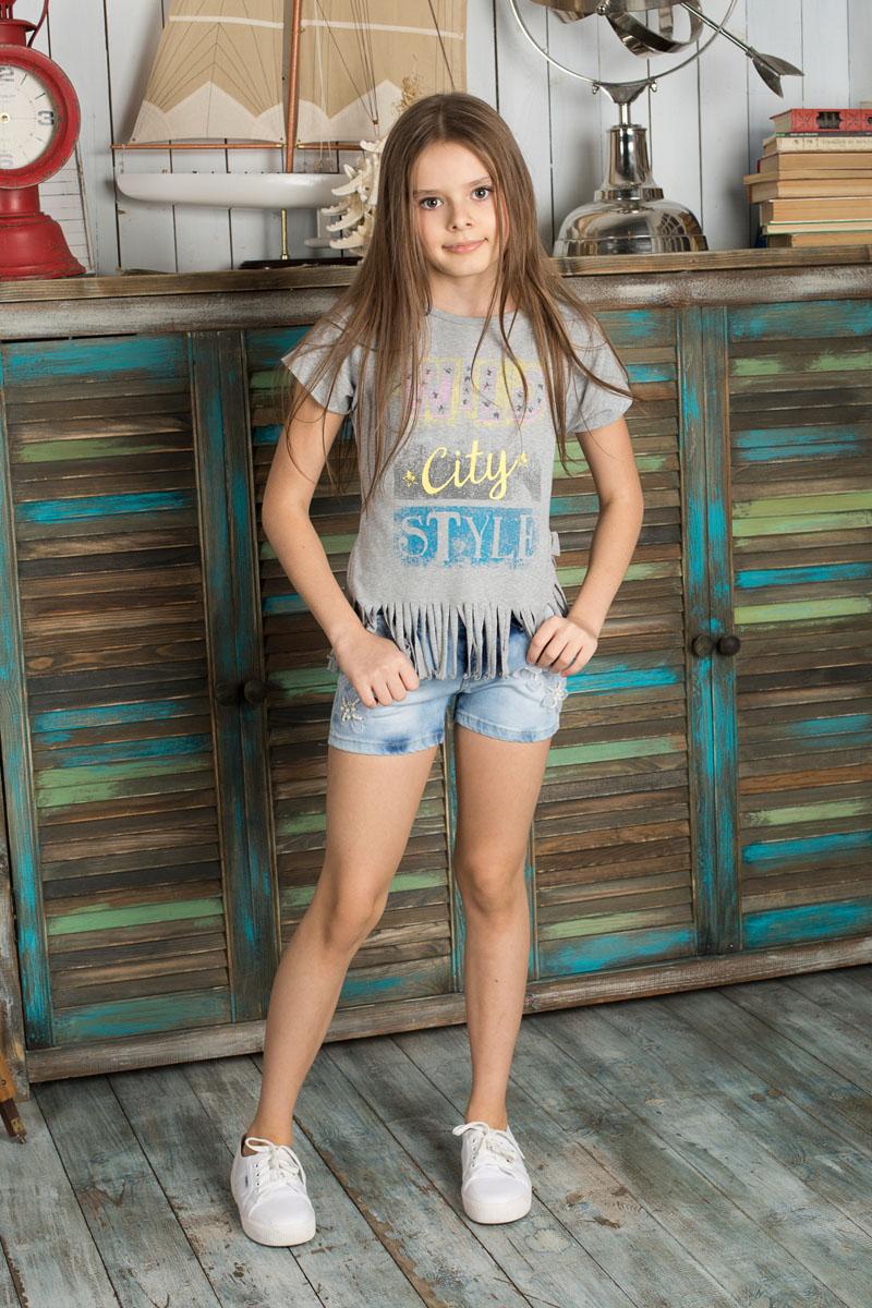 Шорты для девочки. 195819195819Джинсовые шорты для девочки Luminoso идеально подойдут маленькой моднице и станут отличным дополнением к детскому гардеробу. Изготовленные из эластичного хлопка, они не сковывают движения и позволяют коже дышать, обеспечивая наибольший комфорт. Шорты на талии застегиваются на металлическую пуговицу и имеют ширинку на застежке-молнии, а также шлевки для ремня. С внутренней стороны пояс регулируется скрытой резинкой на пуговицах. Спереди расположены два втачных кармана и один маленький накладной, а сзади - два накладных кармана. Оформлено изделие заклепками со стразами и аппликациями в виде цветов из текстиля, бусин и страз. В таких стильных шортах ваша дочурка будет чувствовать себя комфортно и всегда будет в центре внимания!