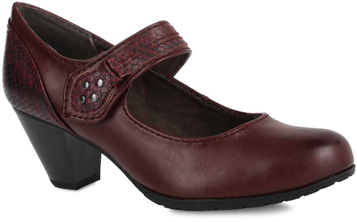 Туфли женские Soft Line. 8-8-24460-278-8-24460-27-001Стильные туфли Soft Line от Jana не оставят равнодушной настоящую модницу! Модель выполнена из искусственной кожи. Задняя часть модели дополнена вставкой из искусственной кожи под рептилию. Закругленный носок добавляет женственности. Подкладка из текстиля не натирает. Мягкая стелька из материала ЭВА с текстильной поверхностью обеспечивает максимальный комфорт. Ремешок с эластичной резинкой на застежке-липучке, оформленный нашивкой под рептилию и металлическими заклепками, надежно зафиксирует модель на ноге. Каблук умеренной высоты невероятно устойчив. Каблук и подошва с рифлением обеспечивают идеальное сцепление с любыми поверхностями. Элегантные туфли внесут изысканные нотки в ваш образ и подчеркнут вашу утонченную натуру.