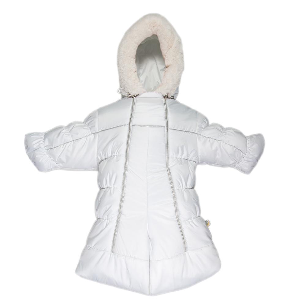 Комбинезон утепленный2802/1Теплый комбинезон-трансформер Сонный Гномик Бамбино изготовлен из полиэстера на мягкой текстильной подкладке. На модели предусмотрена съемная подстежка из натуральной овечьей шерсти. В качестве утеплителя используется синтепон, также изделие оснащено теплосберегающей мембраной Shelter Kids (200г/кв.м). Комбинезон-трансформер с капюшоном и длинными рукавами застегивается на две вертикальные молнии спереди по всей длине. Капюшон, декорированный несъемной опушкой из искусственного меха, дополнен по краю эластичным шнурком со стоппером. Манжеты рукавов дополнены отворотами, которые защитят ручки малыша от холода. Благодаря удобной системе молний и кнопок на брючинах комбинезон можно легко трансформировать в конверт с рукавами. В комплект с комбинезоном входят теплые пинетки.
