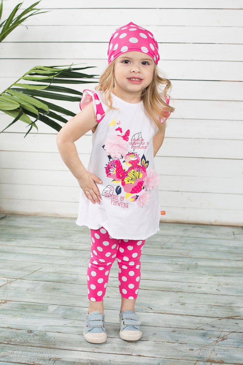Комплект одежды для девочки Baby: футболка, леггинсы. 195216195216Яркий комплект одежды для девочки Sweet Berry Baby, состоящий из футболки и леггинсов, станет отличным дополнением к детскому гардеробу. Изготовленный из эластичного хлопка, он мягкий и приятный на ощупь, не сковывает движения и позволяет коже дышать, обеспечивая наибольший комфорт. Футболка трапециевидного кроя с круглым вырезом горловины и короткими рукавами-крылышками застегивается сзади на пуговицу, что помогает при переодевании малышки. Модель оформлена цветочным принтом, а также надписями. Украшено изделие декоративными цветами, стразами и блестящим напылением. Укороченные леггинсы на поясе имеют мягкую эластичную резинку, благодаря чему они не сдавливают животик ребенка и не сползают. По всей поверхности изделие оформлено принтом в горох. В таком комплекте маленькая модница будет чувствовать себя комфортно, уютно, а также всегда будет в центре внимания!
