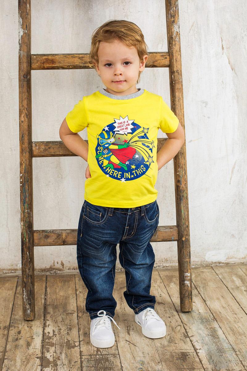 Футболка для мальчика. 196104196104Яркая футболка для мальчика Sweet Berry идеально подойдет вашему маленькому непоседе. Изготовленная из хлопка с небольшим добавлением эластана, она необычайно мягкая и приятная на ощупь, не сковывает движения и позволяет коже дышать, не раздражает даже самую нежную и чувствительную кожу ребенка, обеспечивая ему наибольший комфорт. Футболка с круглым вырезом горловины оформлена модным принтом с изображением звездного супергероя. Вырез горловины дополнен трикотажной эластичной резинкой. Современный дизайн и расцветка делают эту футболку стильным предметом детского гардероба. В ней ваш ребенок будет чувствовать себя уютно и комфортно и всегда будет в центре внимания!