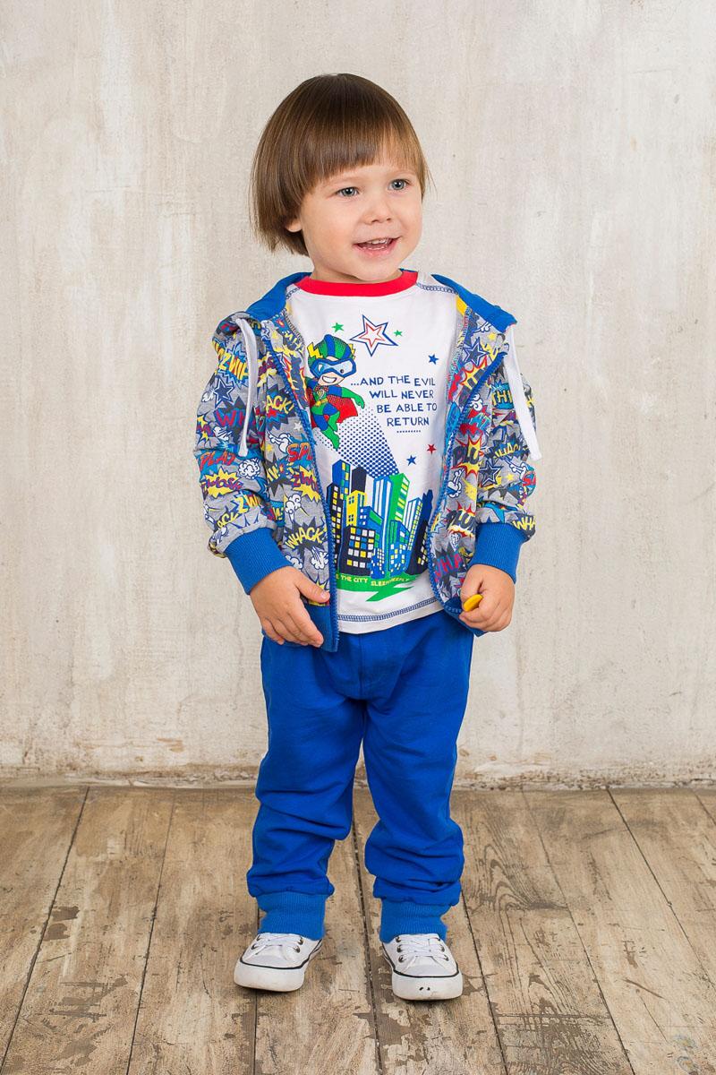 Спортивный костюм для мальчика. 196108196108Спортивный костюм для мальчика Sweet Berry Baby, состоящий из толстовки и брюк, идеально подойдет вашему малышу и станет отличным дополнением к гардеробу. Изготовленный из эластичного хлопка, он необычайно мягкий и приятный на ощупь, не сковывает движения и позволяет коже дышать, не раздражает даже самую нежную и чувствительную кожу ребенка, обеспечивая ему наибольший комфорт. Толстовка с капюшоном на кулиске и длинными рукавами спереди застегивается на пластиковую застежку-молнию. Рукава и низ изделия дополнены эластичными вставками, препятствующими проникновению холодного воздуха. Модель оформлена оригинальным принтом. Спортивные брюки на поясе имеют широкую эластичную резинку со шнурком, благодаря чему они не сдавливают животик и не сползают. Спереди имеется имитация ширинки. Брючины дополнены эластичными резинками. Такой спортивный костюм удачно сочетает в себе красоту, комфорт и практичность! В нем юный модник всегда будет в центре внимания!