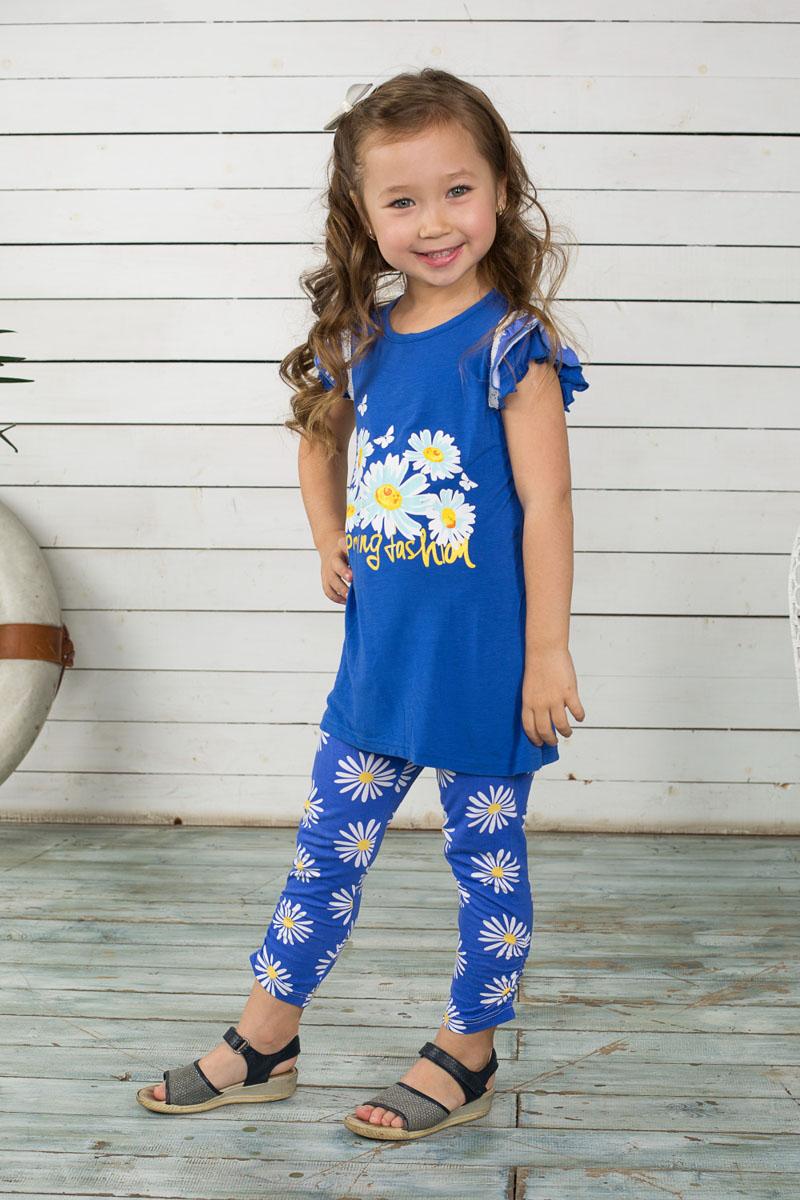 195433Футболка для девочки Sweet Berry, выполненная из эластичного хлопка, отлично подойдет маленькой моднице. Изделие мягкое и приятное на ощупь, не сковывает движения, хорошо пропускает воздух, обеспечивая комфорт. Удлиненная футболка с круглым вырезом горловины и короткими рукавами-крылышками оформлена термоаппликацией в виде цветов с бабочками, а также принтовой надписью с блестящим напылением. Спинка модели немного удлинена, снизу небольшой разрез. Рукава дополнены трикотажной оборкой с цветочным принтом. Современный дизайн и расцветка делают эту футболку стильным предметом детской одежды. В ней ваша принцесса всегда будет в центре внимания!