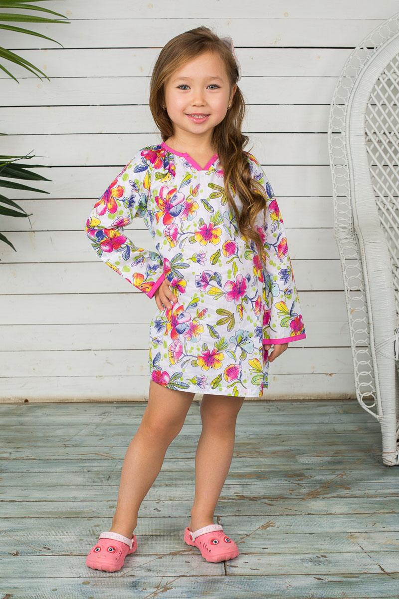 195503Платье для девочки Sweet Berry станет отличным дополнением к детскому гардеробу. Изготовленное из натурального хлопка, оно необычайно мягкое и приятное на ощупь, не сковывает движения и позволяет коже дышать, не раздражает даже самую нежную и чувствительную кожу ребенка, обеспечивая ему наибольший комфорт. Платье свободного кроя с фигурным вырезом горловины и длинными рукавами-реглан застегивается на спинке текстильной петлей на пуговицу. Края горловины и рукавов обработаны бейкой контрастного цвета. Изделие оформлено ярким цветочным принтом. Современный дизайн и актуальная расцветка делают это платье модным и стильным предметом детского гардероба. В нем ваша принцесса будет чувствовать себя уютно и комфортно, и всегда будет в центре внимания!
