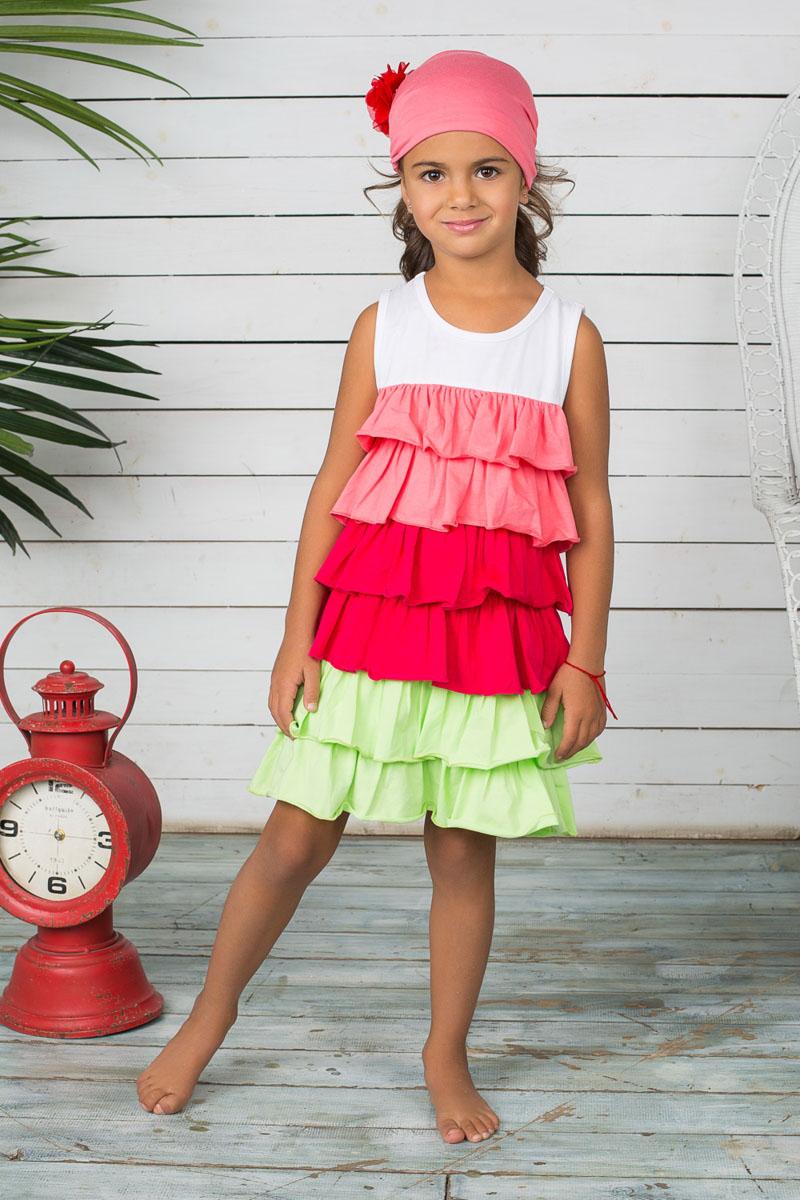 Платье для девочки. 195510195510Яркое платье для девочки Sweet Berry отлично дополнит образ маленькой принцессы. Платье изготовлено из мягкой эластичной ткани, оно приятное к телу, не сковывает движения и хорошо пропускает воздух, обеспечивая комфорт. Модель с круглым вырезом горловины дополнена воздушными воланами, придающими платью оригинальность. Изделие декорировано цветочным узором, выполненным из стразов. Такое платье станет стильным и красивым дополнением к гардеробу, в нем ребенок всегда будет в центре внимания!