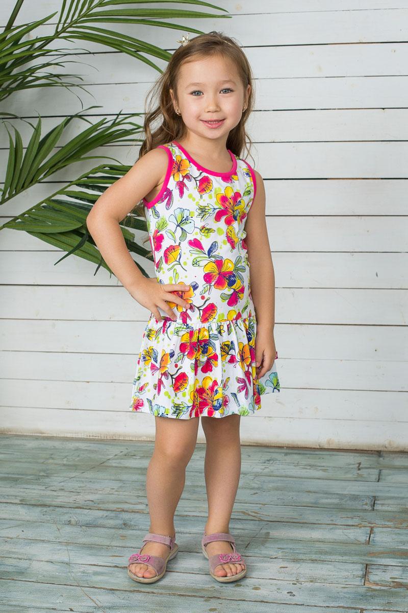 Платье для девочки. 195484195484Стильное платье для девочки Sweet Berry станет отличным дополнением к гардеробу вашей модницы. Изготовленное из эластичного хлопка, оно необычайно мягкое и приятное на ощупь, не сковывает движения и позволяет коже дышать, не раздражает даже самую нежную и чувствительную кожу ребенка, обеспечивая ему наибольший комфорт. Платье с круглым вырезом горловины оформлено ярким цветочным принтом. От заниженной линии талии заложены небольшие складочки, которые придают изделию воздушность. Современный дизайн и актуальная расцветка делают это платье модным и стильным предметом детского гардероба. В нем ваша принцесса будет чувствовать себя уютно и комфортно и всегда будет в центре внимания!