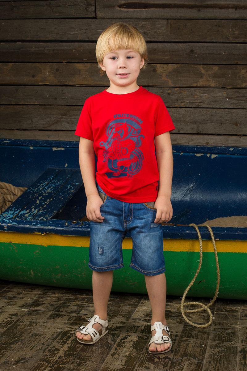 Футболка для мальчика. 196310196310Яркая футболка для мальчика Sweet Berry станет отличным дополнением к детскому гардеробу. Изготовленная из эластичного хлопка, она необычайно мягкая и приятная на ощупь, не сковывает движения и позволяет коже дышать, не раздражает даже самую нежную и чувствительную кожу ребенка, обеспечивая ему наибольший комфорт. Футболка с короткими рукавами и круглым вырезом горловины спереди оформлена оригинальным принтом и надписями. Горловина изделия выполнена из эластичной трикотажной резинки. Современный дизайн и расцветка делают эту футболку стильным предметом детской одежды. В ней юный модник будет чувствовать себя комфортно и всегда будет в центре внимания!