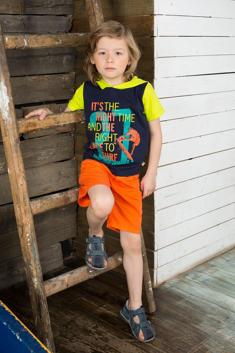 Футболка для мальчика. 196350196350Яркая футболка для мальчика Sweet Berry станет отличным дополнением к детскому гардеробу. Изготовленная из эластичного хлопка, она необычайно мягкая и приятная на ощупь, не сковывает движения и позволяет коже дышать, не раздражает даже самую нежную и чувствительную кожу ребенка, обеспечивая ему наибольший комфорт. Футболка с капюшоном и короткими рукавами спереди оформлена принтовыми надписями. Капюшон и рукава выполнены из ткани контрастного цвета. Края рукавов дополнены отворотами. Современный дизайн и расцветка делают эту футболку стильным предметом детской одежды. В ней юный модник будет чувствовать себя комфортно и всегда будет в центре внимания!