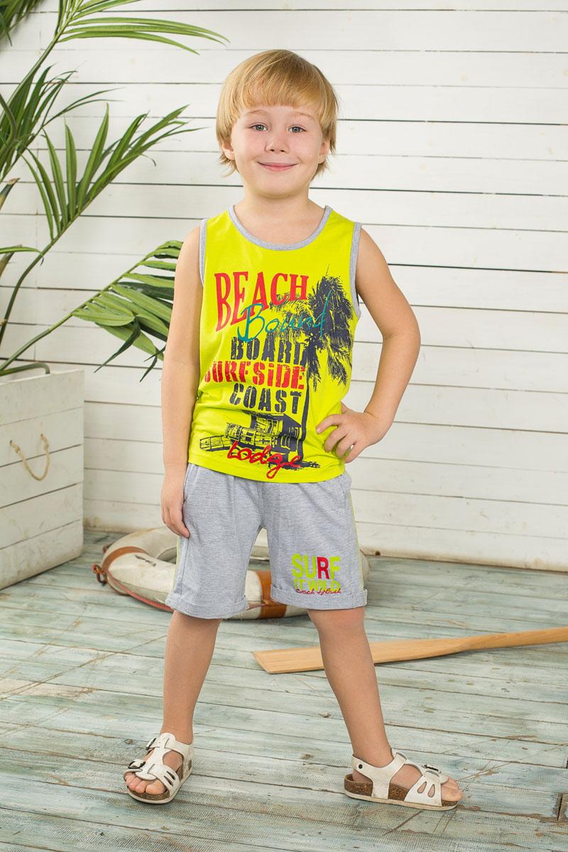 Комплект для мальчика: майка, шорты. 196352196352Комплект одежды для мальчика Sweet Berry, состоящий из майки и шорт, станет отличным дополнением к детскому гардеробу. Изготовленный из эластичного хлопка, он очень мягкий и приятный на ощупь, не сковывает движения и позволяет коже дышать, обеспечивая наибольший комфорт. Майка оформлена спереди оригинальным принтом и надписями. Круглый вырез горловины и проймы рукавов дополнены бейками контрастного цвета. Шорты на поясе имеют мягкую трикотажную резинку с затягивающимся шнурком, благодаря чему они не сдавливают животик ребенка и не сползают. Спереди расположены два прорезных кармана. Модель дополнена декоративными отворотами. Изделие украшено контрастной прострочкой по бокам и принтовыми надписями. В таком комплекте одежды маленький модник будет чувствовать себя комфортно, уютно, а также всегда будет в центре внимания!