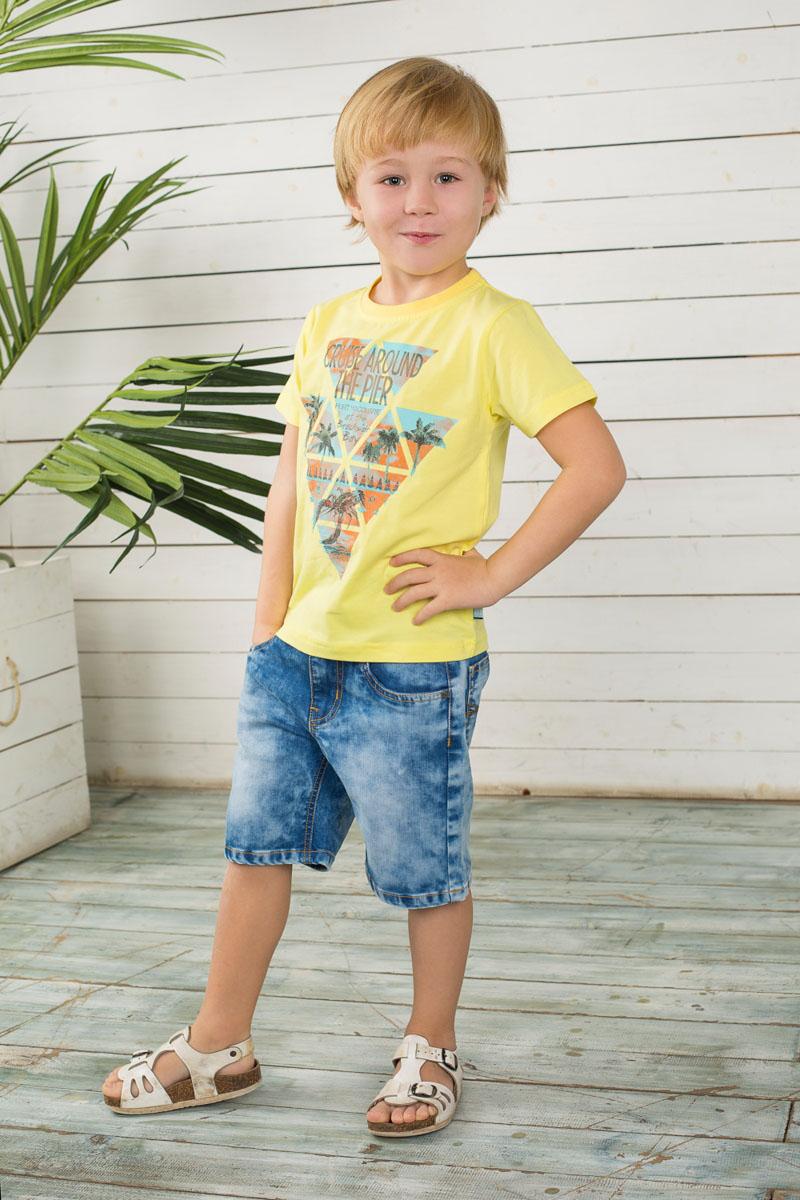 Футболка для мальчика. 196364196364Яркая футболка для мальчика Sweet Berry, выполненная из эластичного хлопка, идеально подойдет вашему маленькому мужчине. Изделие мягкое и приятное на ощупь, не сковывает движения, хорошо пропускает воздух, обеспечивая комфорт. Футболка с короткими рукавами имеет круглый вырез горловины, дополненный мягкой трикотажной резинкой. Модель украшена оригинальным принтом. Современный дизайн и расцветка делают эту футболку стильным предметом детской одежды. В ней ребенок всегда будет в центре внимания!